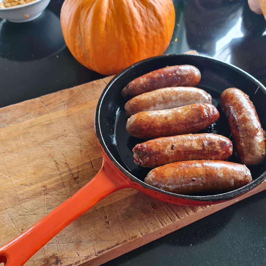 sausages in frying pan website