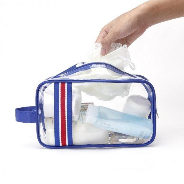 clear toiletries, cosmetics or first aid bag.