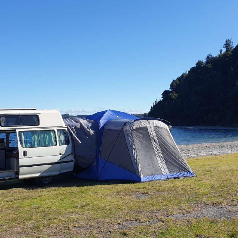 Back door boot tent for van