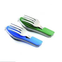 Folding Camping Knife, Spoon and Fork Green Blue